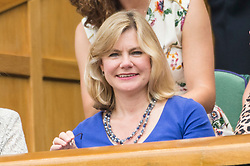 © Licensed to London News Pictures. 05/07/2019. London, UK. Justine Greening watches centre court tennis in the royal box on Day 5 of Wimbledon Tennis Championships 2019 held at the All England Lawn Tennis and Croquet Club. Photo credit: Ray Tang/LNP