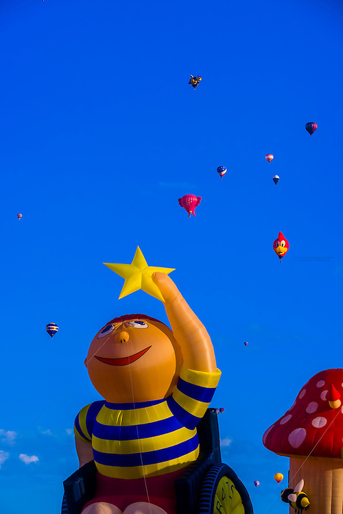"""Reach for the Stars"", a 130 ft. tall special shape balloon (which provides flights and tethered rides to people with special needs). It is meant to encourage people, regardless of the challenges in life, to always Reach for the Stars!, Albuquerque International Balloon Fiesta, Albuquerque, New Mexico USA."