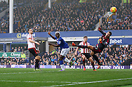 Arouna Kone of Everton heads and scores his teams 6th goal (his 3rd to complete his hat- trick). Barclays Premier League match, Everton v Sunderland at Goodison Park in Liverpool on Sunday 1st November 2015.<br /> pic by Chris Stading, Andrew Orchard sports photography.