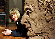 © Licensed to London News Pictures. 26/01/2012, London, UK. JANE McADAM FREUD poses with her sculpture portraying her father Lucian Freud. It will be exhibited for the first time in London's Freud Museum. She spent many hours with her father before his death in July 2011 making sketches for the sculpture.   Photo credit : Stephen Simpson/LNP