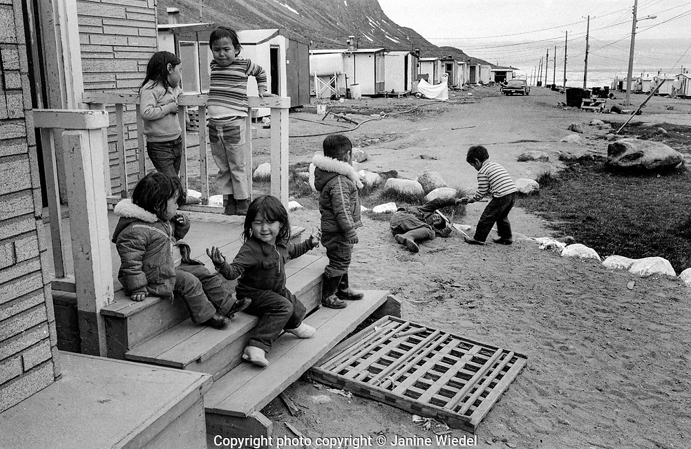 Inuit children playing in the Canadian Arctic settlement of Pangnirtung in the territory of Nunavut (North West Territories) 1973
