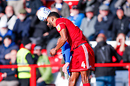 Accrington Stanley defender Michael Ihiekwe (4), on loan from Rotherham United,  wins the header during the EFL Sky Bet League 1 match between Accrington Stanley and Portsmouth at the Fraser Eagle Stadium, Accrington, England on 27 October 2018.