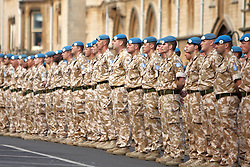 © Licensed to London News Pictures.  04/04/2012. OXFORD, UK. Soldiers from 23 Pioneer Regiment march through the centre of Oxford. The troops have recently returned from Afghanistan are in Oxford due to redevelopment work and road closures in Bicester town centre, which prevents their regular homecoming ceremony from taking place. Photo credit :  Cliff Hide/LNP