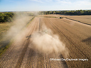 63801-09012 Soybean Harvest, 2 John Deere combines harvesting soybeans - aerial - Marion Co. IL