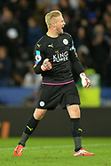 Kasper Schmeichel of Leicester city celebrates as Islam Slimani of Leicester scores his teams 1st goal to make it 1-0.  Premier league match, Leicester City v Sunderland at the King Power Stadium in Leicester, Leicestershire on Tuesday 4th April 2017.<br /> pic by Bradley Collyer, Andrew Orchard sports photography.