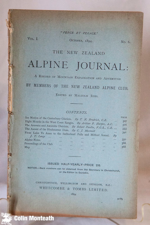 NEW ZEALAND ALPINE JOURNAL Vol 1 #6 Oct 1894 - original card covers, taken out of a strange binding hence rough on spine edge. Scarce $NZ75 ( Bulk order discount available)