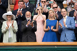 July 4, 2018 - London, London, UK - London, UK. Prince Michael of Kent, Princess Michael of Kent, Lady Gabriella Windsor and Lord Fredrick Windsor watch centre court tennis at the Wimbledon Tennis Championships 2018, Day 3. (Credit Image: © Ray Tang/London News Pictures via ZUMA Wire)