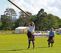 Inveraray Highland Games. Competitions include Piping, Highland Dancing, Heavy and Light events as well as the World Caber Tossing Championship.  Scott Rider is the 2016 World Caber Tossing Champion. (c) Stephen Lawson   Edinburgh Elite media