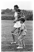 Stephanie Seymour with her sons Dylan and Peter. Hampton Classic, Bridgehampton New York 1995© Copyright Photograph by Dafydd Jones 66 Stockwell Park Rd. London SW9 0DA Tel 020 7733 0108 www.dafjones.com