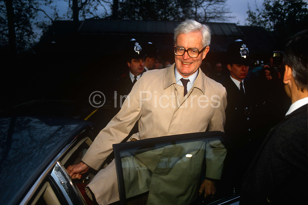 Douglas Hurd MP climbs into his ministerial car in the summer of 1990 near Oxford. Douglas Richard Hurd, Baron Hurd of Westwell, CH, CBE, PC b1930 is a British Conservative politician who served in the governments of Margaret Thatcher and John Major from 1979 to 1995.