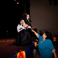 Gladys Gallegos proudly tips her son as he performs as Daphney at the True Colors Drag Show for the end of Gallup PRIDEfest at the El Morro Theatre.