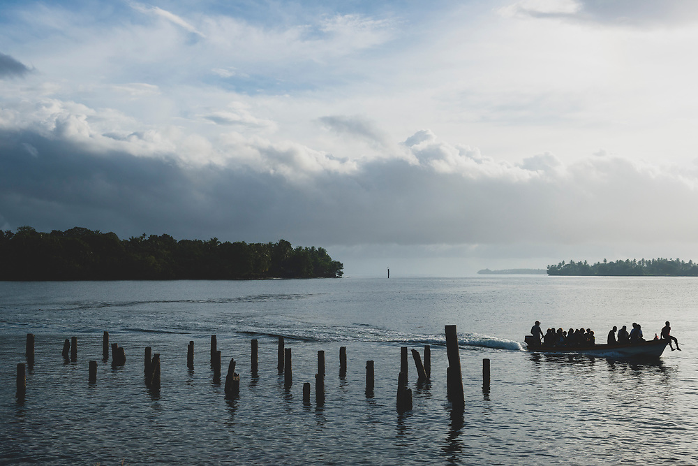 A boat approaches the shore in Madang, Papua New Guinea.<br /><br />(July 30, 2017)