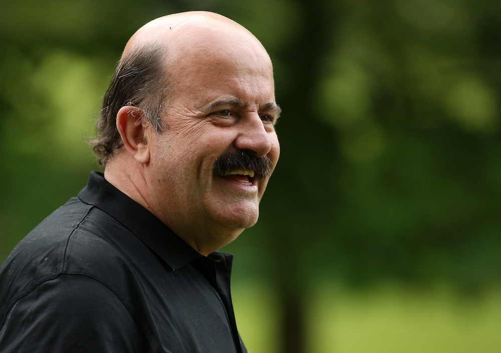 Former Snooker Player Willie Thorne laughs during the Pro Am.<br /> <br />   (Photo by James Marsh/CameraSport) <br /> <br /> Golf - 2014 BMW PGA Championship - Wentworth Club - Pro Am - Wednesday 21st May 2014 - Virginia Water, Surrey, England<br /> <br /> © CameraSport - 43 Linden Ave. Countesthorpe. Leicester. England. LE8 5PG - Tel: +44 (0) 116 277 4147 - admin@camerasport.com - www.camerasport.com