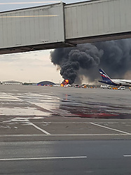 May 5, 2019 - Moscow, Russia - A passenger aircraft burns after catching fire when landing at Sheremetyevo Airport. (Credit Image: © Russian Look via ZUMA Wire)