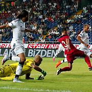 Besiktas's Cenk Tosun (R) during their Turkish Superleague soccer match Mersin Idman Yurdu between Besiktas at the Mersin stadium in Mersin Turkey on Sunday 16 August 2015. Photo by Aykut AKICI/TURKPIX