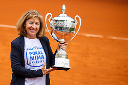 Mima Jausovec with trophy after Day 3 of tennis tournament Mima Jausovec cup where compete best Slovenian tennis players of the East and West, on June 8, 2020 in RCU Lukovica, Slovenia. Photo by Matic Klansek Velej / Sportida