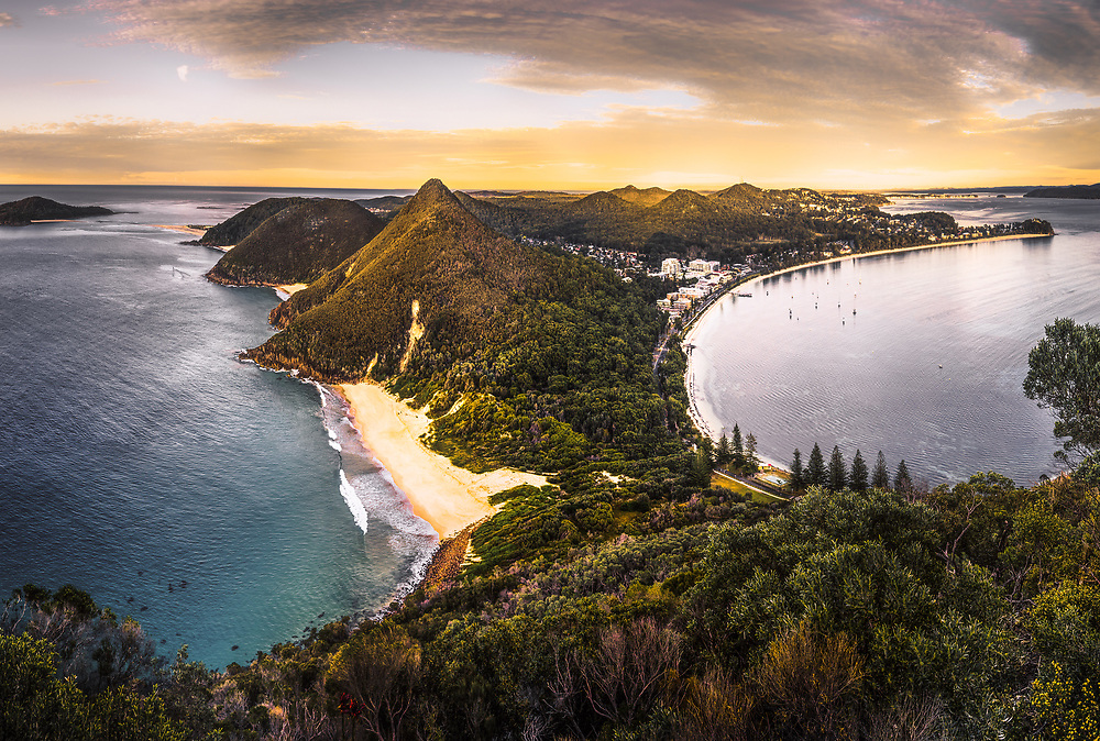 Sunrise over Shoal Bay from the top of Mount Tomaree, New South Wales