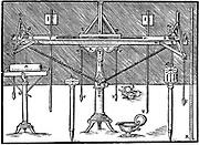 A surveyor's level. From Gaultherus Rivius 'Architechtur...Mathematischen …Kunst', Nuremberg, 1547. Engraving