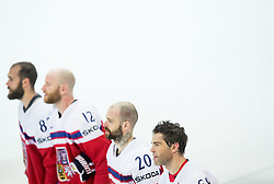 Jaromir Jagr of Czech Republic (R) listening to the national anthem after winning during Ice Hockey match between Finland and Czech Republic at Quarterfinals of 2015 IIHF World Championship, on May 14, 2015 in O2 Arena, Prague, Czech Republic. Photo by Vid Ponikvar / Sportida