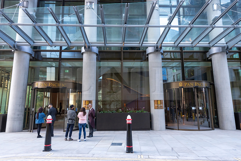 © Licensed to London News Pictures. 02/09/2021. London, UK. The new luxury PAN PACIFIC HOTEL in the heart of the City of London. Part of the  Singapore PAN PACIFIC Hotels group, this is their first European hotel. The hotel is based at One Bishopsgate Plaza and features 237 guest rooms including 42 suites and a signature Pan Pacific Suite; Five bars and restaurants including an all-day dining Straits Kitchen restaurant; A dedicated well being floor with an 18.5 metre infinity pool and a destination  cocktail bar in Devonshire House designed by Tom Dixon. Photo credit: Ray Tang/LNP