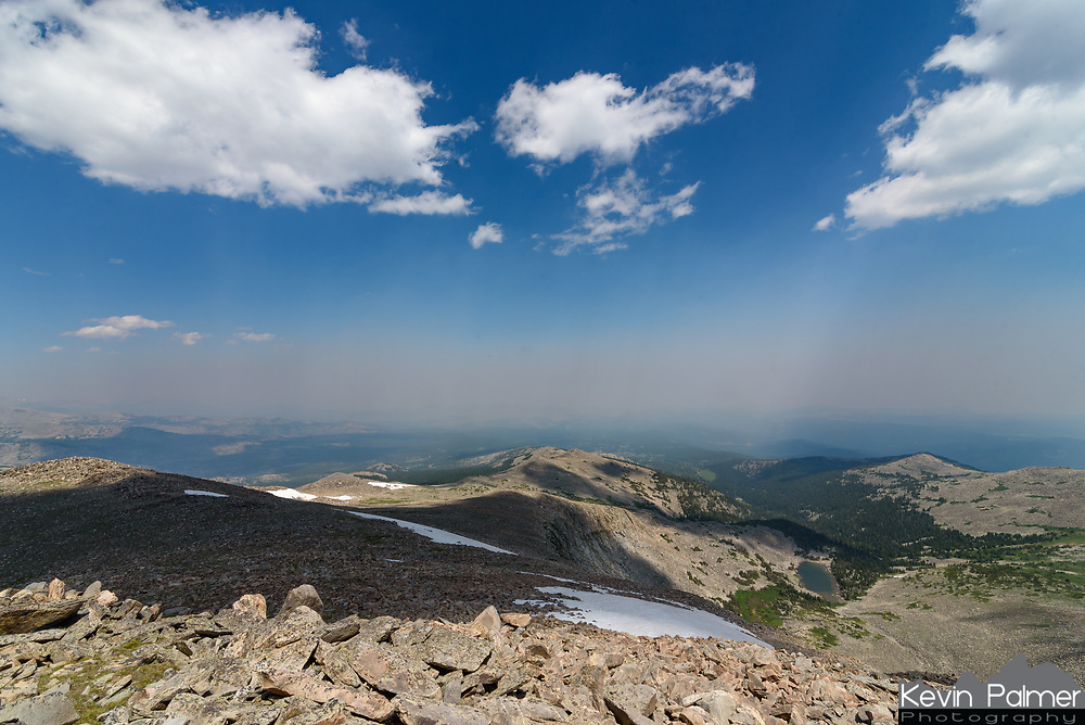 This is the view from the top of Loaf Mountain at 11,722'. There was no trail, so I had to pay close attention to the map while hiking 3.5 miles to the summit. The view from the top wasn't as clear as it could have been because of wildfire smoke from Montana.