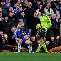 Stamford Bridge Chelsea v Liverpool (0-1) Premier League 06/02/2011<br />Petr Cech  (Chelsea) berates his own player Banislav Ivanovic after mix up<br />Photo: Roger Parker Fotosports International