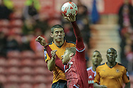 Conor Coady (Wolverhampton Wanderers) heads the ball over Adam Clayton (Middlesbrough) during the Sky Bet Championship match between Middlesbrough and Wolverhampton Wanderers at the Riverside Stadium, Middlesbrough, England on 4 March 2016. Photo by Mark P Doherty.