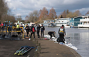 Molesey, Surrey. Competitors getting ready to boat for the Molesey Veterans Head. Saturday  21/02/2015  [Mandatory Credit; Peter Spurrier/Intersport-images]
