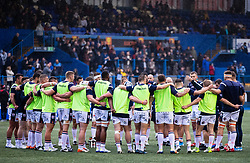 Edinburgh players huddle during the pre match warm up<br /> <br /> Photographer Simon King/Replay Images<br /> <br /> Guinness PRO14 Round 2 - Cardiff Blues v Edinburgh - Saturday 5th October 2019 -Cardiff Arms Park - Cardiff<br /> <br /> World Copyright © Replay Images . All rights reserved. info@replayimages.co.uk - http://replayimages.co.uk
