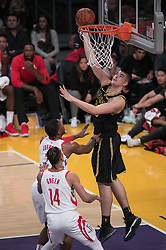 April 10, 2018 - Los Angeles, California, U.S - Ivica Zubac #40 of the Los Angeles Lakers goes for a reverse layup during their NBA game with the Houston Rockets on Tuesday April 10, 2018 at Staples Center in Los Angeles, California. Lakers lose to Rockets, 105-99. (Credit Image: © Prensa Internacional via ZUMA Wire)