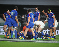 Rugby Union - 2021 Guinness Six Nations - Round Four - England vs France - Twickenham<br /> <br /> Mark Itoje of England pushes over for the winning try<br /> <br /> <br /> Credit : COLORSPORT/ANDREW COWIE