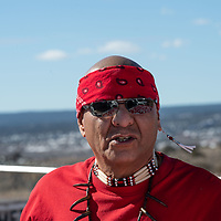 Damon Smith at the Veterans Navajo Cemetery before the group walks down Indian Route 12 for the Missing and Murdered Indigenous Women and Girls Walk in Ft. Defiance Friday.
