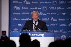 October 13, 2017 - Washington, DC, United States - Oliver North, political commentator and former United States Marine Corps Lieutenant Colonel, speaks at the 2017 Values Voter Summit, at the Omni Shoreham Hotel in Washington, D.C., on Friday, October 13, 2017. (Credit Image: © Cheriss May/NurPhoto via ZUMA Press)