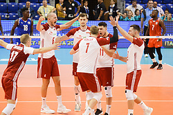 September 12, 2018 - Varna, Bulgaria - The national team volleyball of Poland celebrate after win a point against Cuba during Cuba v Poland, pool D, during 2018 FIVB Volleyball Men's World Championship Italy-Bulgaria 2018, Varna, Bulgaria on September 12, 2018  (Credit Image: © Hristo Rusev/NurPhoto/ZUMA Press)