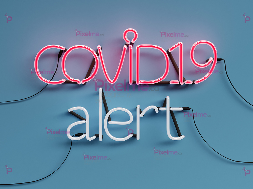 COVID19 Alert neon graphic sign with blue background and COVID19 word mode on with red neon color - 3d rendering concept