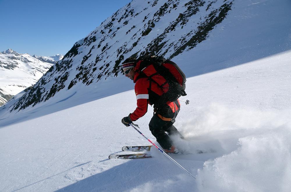 Skiing in the Otztal Alps of Austria.
