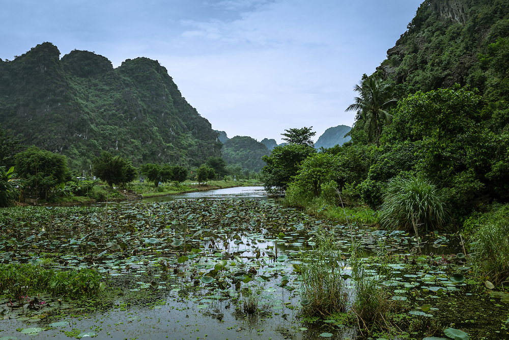 River and mountain range outside of Hua Lu, Northern Vietnam