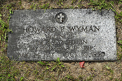 31 August 2017:   Veterans graves in Park Hill Cemetery in eastern McLean County.<br /> <br /> Howard P Wyman  Illinois TEC4 637 TD BN  World War II Purple Heart  Aug 14 1917 Oct 10 1950