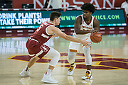 Southern California Trojans guard Ethan Anderson (20) is guarded by Stanford Cardinal guard Michael O'Connell (5) during an NCAA men's basketball game, Wednesday, March 3, 2021, in Los Angeles. USC defeated Stanford 79-42. (Jon Endow/Image of Sport)