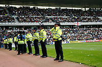 Photo: Steve Bond.<br />Derby County v Leeds United. Coca Cola Championship. 06/05/2007. The police line up in front of the Leeds fans at the final whistle
