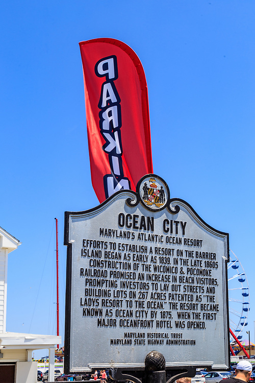 Ocean City, MD, USA - May 26, 2018: A historical sign marker describing the history of Ocean City.