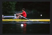 Lucerne, SWITZERLAND. GER [RFA]  M1X Peter Michael KOLBE. 1988 Lucerne International Regatta, Lake Rotsee. June 1988 [Mandatory Credit - Peter Spurrier/Intersport Images]