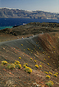 Greece, Cyclades, volcano crater on Burnt Island of Nea Kameni.