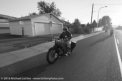 Frank Westfall riding his 1928 Henderson Deluxe during Stage 16 (142 miles) of the Motorcycle Cannonball Cross-Country Endurance Run, which on this day ran from Yakima to Tacoma, WA, USA. Sunday, September 21, 2014.  Photography ©2014 Michael Lichter.