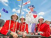 A cardboard cut out of the Queen and some loyal troops wait for Laura Mvula. The 2013 Glastonbury Festival, Worthy Farm, Glastonbury. 29 June 2013.  © Guy Bell, guy@gbphotos.com, all rights reserved