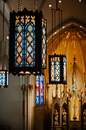 Sanctuary lamps with the reredos in the background on Saturday, Jan. 16, 2021, at Zion Lutheran Church, Fort Wayne, Indiana. LCMS Communications/Erik M. Lunsford