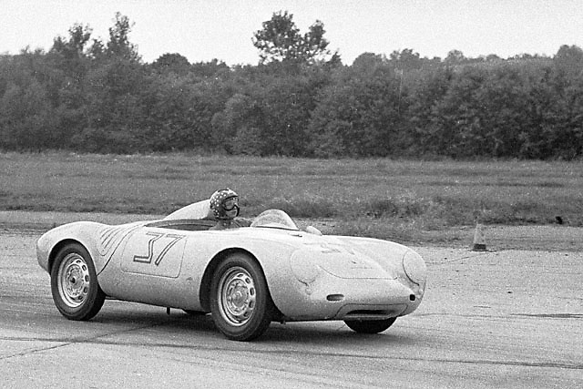 Denise McCluggage in Porsche 550 at Montgomery airport circuit, NY state, in 1958