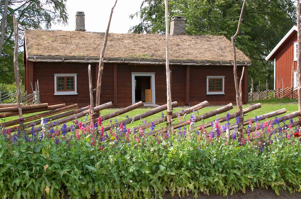Where Linnaeus was born. The herbal garden with plants typical for Linnaeus time. The farm at Rashult where Linnaeus was born. Smaland region. Sweden, Europe.