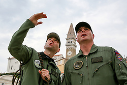 After two months of restoration, the Statue of Archangel Michael, made of copper plate, returned to Piran. The image shows Ales Hocevar anad Purkart Cop of 151st Rotary Wing Squadron before helicopter placing it on top of the church's clock, on October 15, 2018 in Piran, Slovenia. Photo by Matic Klansek Velej / Sportida