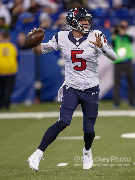 INDIANAPOLIS, IN - DECEMBER 20: Brandon Weeden #5 of the Houston Texans scrambles to pass the ball against the Indianapolis Colts at Lucas Oil Stadium on December 20, 2015 in Indianapolis, Indiana.  (Photo by Michael Hickey/Getty Images) *** Local Caption *** Brandon Weeden